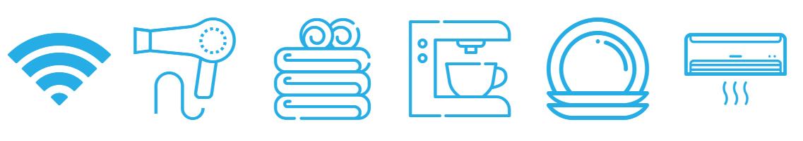 Iconos de los servicios de los apartamentos de Lodgingmalaga